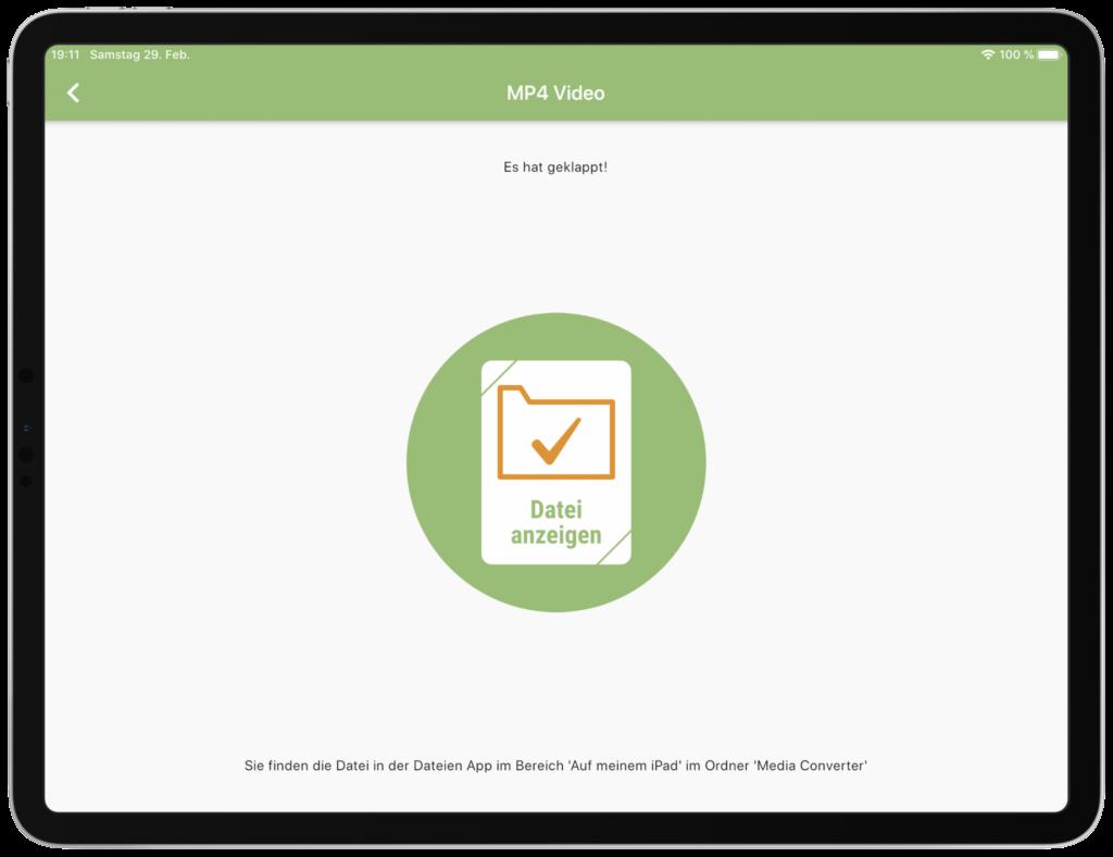 Umgewandelte Dateien können aus der Dateien App bequem geteilt werden.